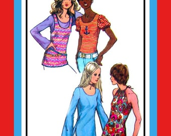 Vintage 1972 -Collection of Tops -Sewing Pattern- Halter- Bell- Puff Sleeves- Tank Top Styles-Designed for Knits- Size 14- Rare