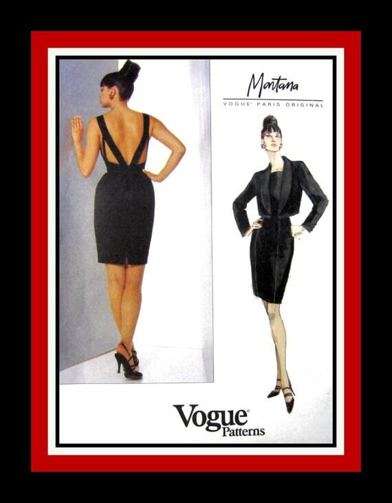 Vogue Paris Original -Cocktail Dress -Matching Jacket -Sewing Pattern -Claude Montana -Uncut -Size 12-16-  Very Rare -Collectible