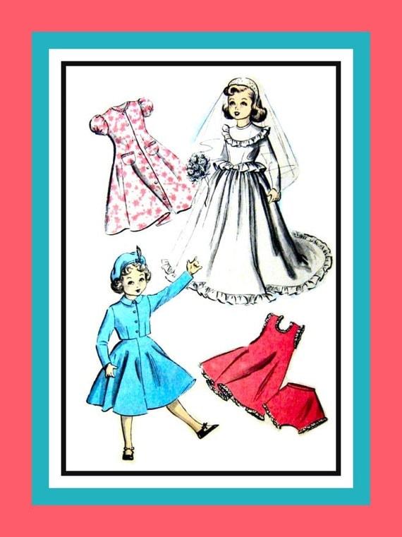 Vintage 1940s- Doll  Wedding Trousseau Wardrobe -Sewing Pattern -Wedding Gown -Veil -Tiara -Dress- Slip- Panties- Dress -Suit-  Hat Rare