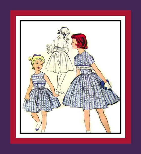 Vintage 1950s -Designer Dress -Cropped Jacket- Sewing Pattern -Shaped Empire Waist- Pretty Ribbon -Trims -Full Skirt- Size 10 -Very Rare