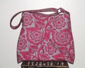 Hobo Messenger Bag Pleated Diaper Bag in Joel Dewberry's Blockprint Blossom in Blush - Large