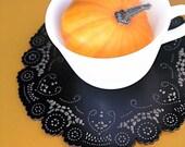 autumn table decor black doily