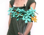 wood flowers - set of EIGHTEEN - choose from aqua, tangerine, red, chartreuse