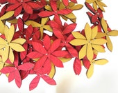 spring flowers -  set of NINE - wood flowers in red, chartreuse, aqua, tangerine - make your own bouquet