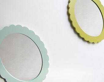 scallop accent mirror white chartreuse vintage blue apple green tangerine ash grey