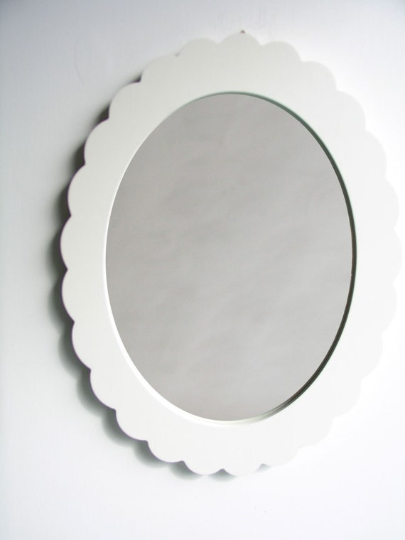 scalloped accent wall mirror for bathroom or bedroom