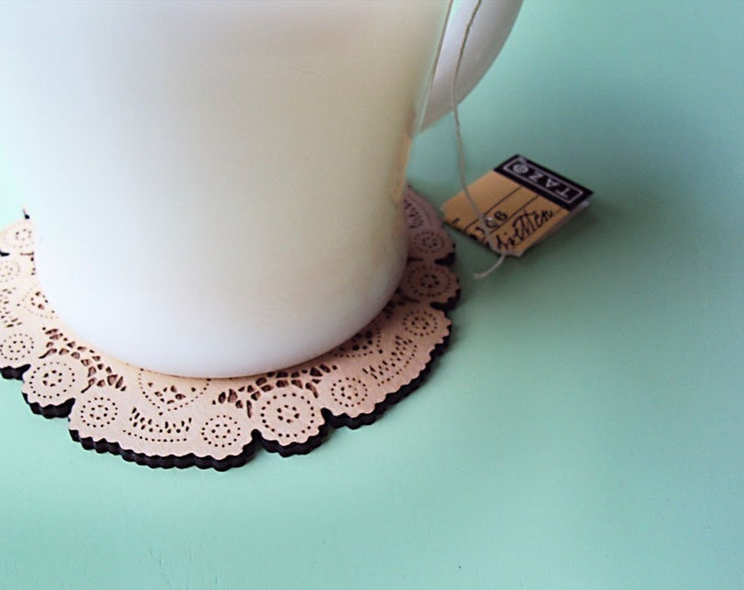 doily coasters for tea lover or coffee lover