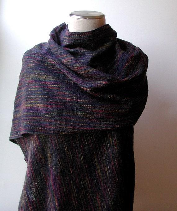 Handwoven Shawl in Multicolor Cotton and Deep Navy Silk