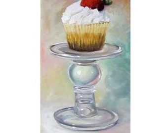 Still Life Painting,Strawberry Cupcake,Kitchen Art,10x20 Canvas Original Oil Painting by Cheri Wollenberg
