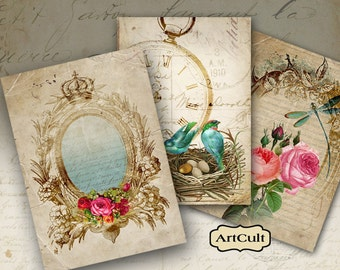 Digital Collage Sheet ROMANCE Victorian Gift Tags Printable Vintage images Jewelry Holders scrapbook decoupage Paper Craft ArtCult designs