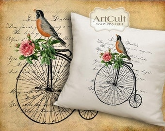 Two Digital Sheets BIRD ON A BIKE Printable Images to print on fabric / paper, Iron On Transfer for tote bags t-shirts pillows by ArtCult