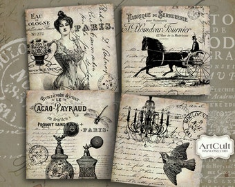 Printable FRENCH VINTAGE 3.8x3.8 inch Images, Digital Collage Sheet for Coasters Greeting cards Magnets Gift tags Scrapbooking paper ArtCult