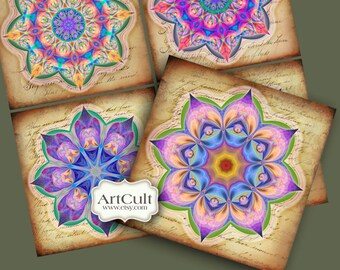 Images for Coasters HEALING MANDALAS Printable download 3.8x3.8 inch tiles Digital Collage Sheet Greeting cards Magnets Gift tags decoupage