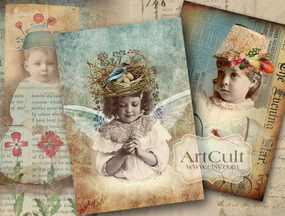 "Printable Download DREAMY FANTASY Digital Collage Sheet, four 5""x3.5"" size Greeting cards, Vintage Ephemera Gift tags Art Cult Paper goods"