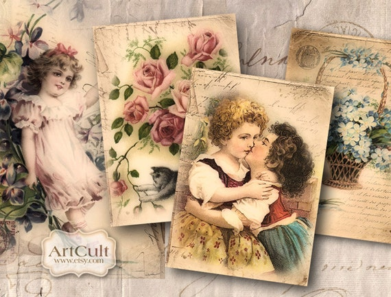 Printable gift tags VINTAGE EPHEMERA Digital Collage Sheet, downloadable vintage Scrapbooking  valentine Paper Clip art ArtCult designs