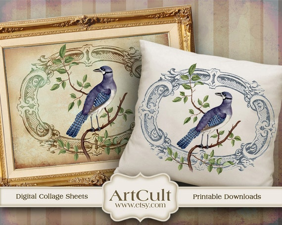 Two Digital Sheets EXOTIC BIRD Printable Images to print on fabric / paper, Iron On Transfer for tote bags t-shirts pillows home decoration
