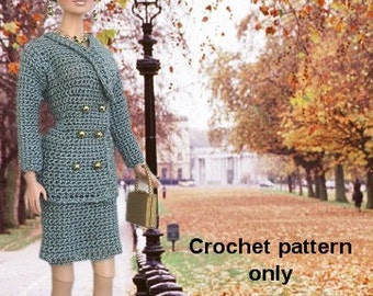 Crochet pattern (PDF) 1990s suit jacket & skirt for Silkstone Barbie doll Fashion Royalty