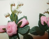 2 Vintage PINK ROSES & Buds White Baby's Breath Spray Hat Millinery Flower Bridal Wedding Doll