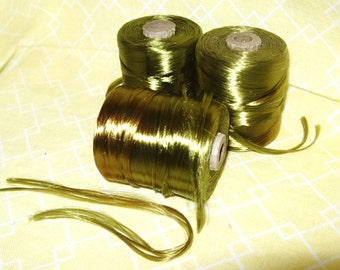 3 Vintage Spools OLIVE GREEN Silk Thread Embroidery Floss Tatting Bead Cord Lace