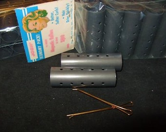Hair Curler Roller w/ Metal Bobby Pins Vintage Gray Hard Plastic Unused 1960's