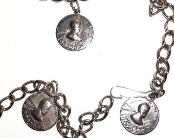 """Vintage Metal Chain Belt w/ Coins of Lucky Penny Shamrock Silver metal 37"""" chunky necklace"""