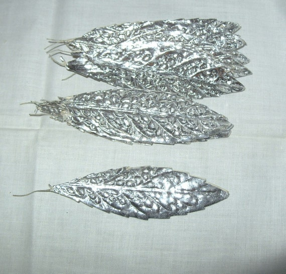 Items similar to metallic paper leaves christmas for Silver foil paper craft