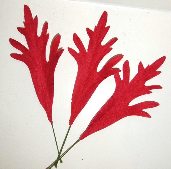Vintage Red Velvet Millinery Leaves Eames 1950's Abstract Fern or Seaweed Leaves I-2 flocked
