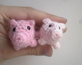 Bitty Piggy  - miniature pig - crochet pig - amigurumi pig - pink pig plush - tiny pig toy - pig ornament - stuffed pig doll - farm animals