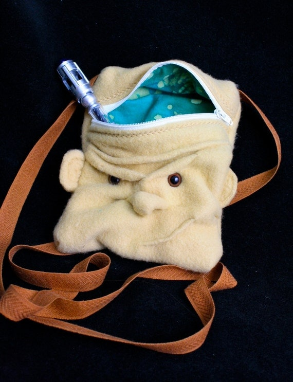 SALE! was 35 Slitheen Face Purse- lined small hip bag with zipper and shoulder strap- Doctor Who inspired Monster dice bag pouch