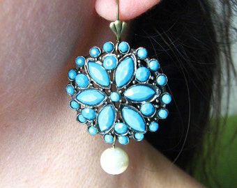 Drop Earrings Turquoise Jewelry Turquoise Earrings Dangle Earrings Flower Earrings Bridesmaid Gift