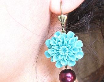 Bridesmaid Jewelry Flower Earrings Turquoise Jewelry Dangle Earrings Drop Earrings Chrysanthemum Burgundy Jewelry