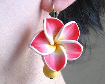 Dangle Earrings Red Flower Earrings, Yellow Jewelry, Red Earrings, Bridesmaid Jewelry, Coral Earrings