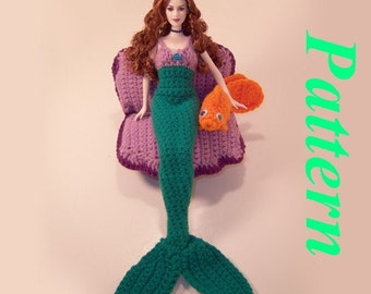 "Fashion Doll Mermaid, Clam Chair, and Goldfish Friend """"""P A T T E R N"""""""