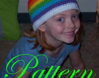 "Child's Rainbow Star Beanie """"""P A T T E R N"""""""