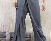 Free shipping -Unique grey Womens pants-Origami trousers/ 4 way pants-womens wrap pants-Wide pants-Convertible pants
