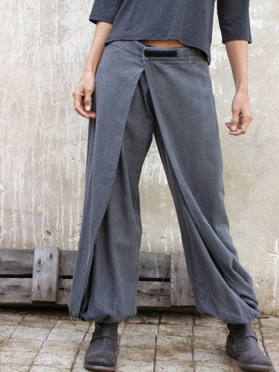 Unique grey Womens pants-Origami trousers/ 4 way pants-womens wrap pants-Wide pants-Convertible pants