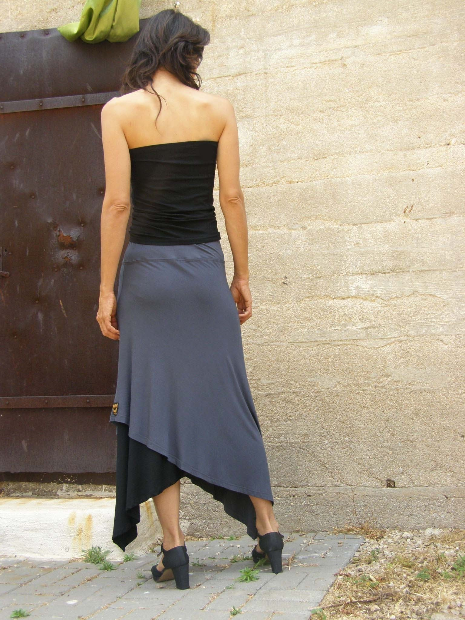 Diagonal womens skirt-Convertible skirt-Maxi skirt-Asymmetric