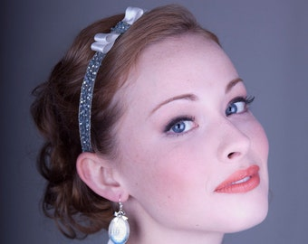 Powder Blue And Ivory Bow Headband