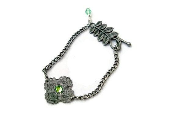 Peridot and Gunmetal Womens Bracelet OOAK