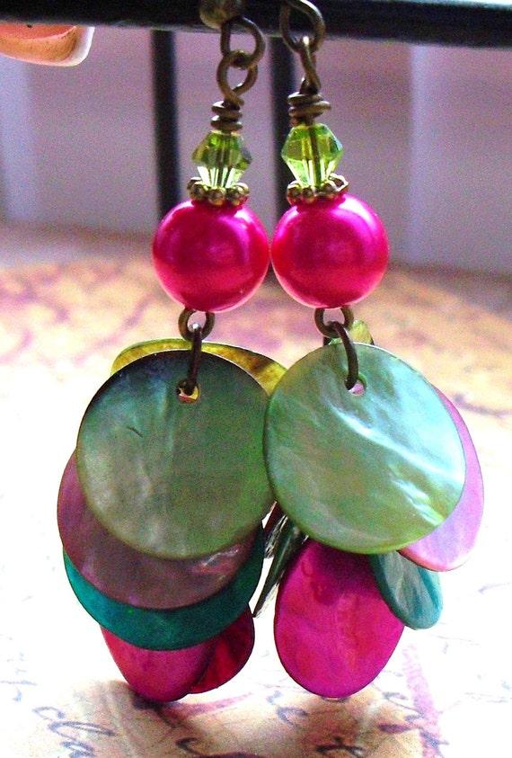 Summer Multi Colored, Cha Cha Earrings , Czech Glass, Flat Sea  Shells