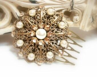 Bridal hair comb, Antique Gold headpiece, Vintage style hair comb, Wedding headpiece, Bridal hair clip, Swarovski crystal hair comb,