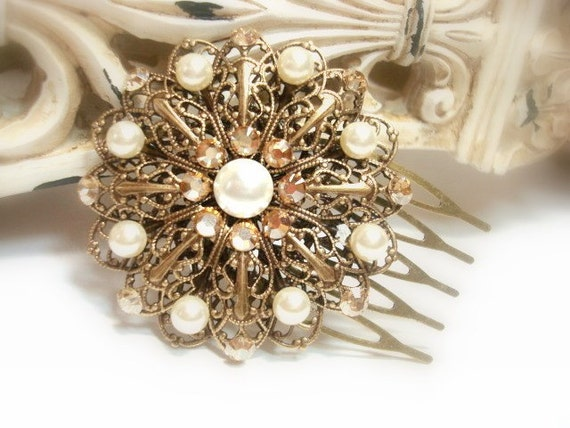 Bridal hair comb, Antique Gold headpiece, Vintage style hair comb, Wedding headpiece, Bridal hair clip, Swarovski crystal hair comb,
