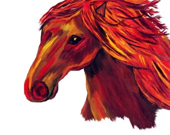 Folk Art, Horse Painting, Native American, Totem Animal, Southwestern Orange Red, Fauvism Home Decor, Wall Hanging, Giclee Print, 8 x 10