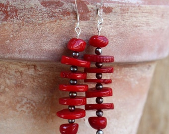 Coral Earrings. Sterling Silver.  GIFT FOR HER.  Aurora Red Coral Disks Earrings. Oriental Style Earrings. Jewelry Gift.