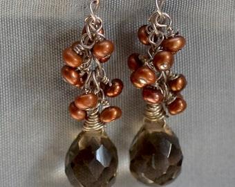 Sale. Smoky Quartz  Sterling Silver Earrings.  Smoky Quartz Teardrops - Bronze Water Pearls Cluster Earrings.
