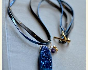 SALE. Titanium Druzy Agate Necklace.  NEON BLUE Geode Necklace.  Cobalt Druzy Necklace. Leather Cord Necklace. Mixed Media Necklace.