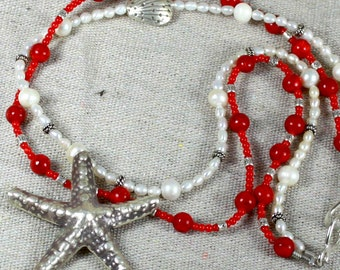 SALE. Red Coral Pearl Sterling Silver SEA STAR  Necklace. Large Fine Silver Pendant. Red Coral - White Fresh Water Pearls Necklace.