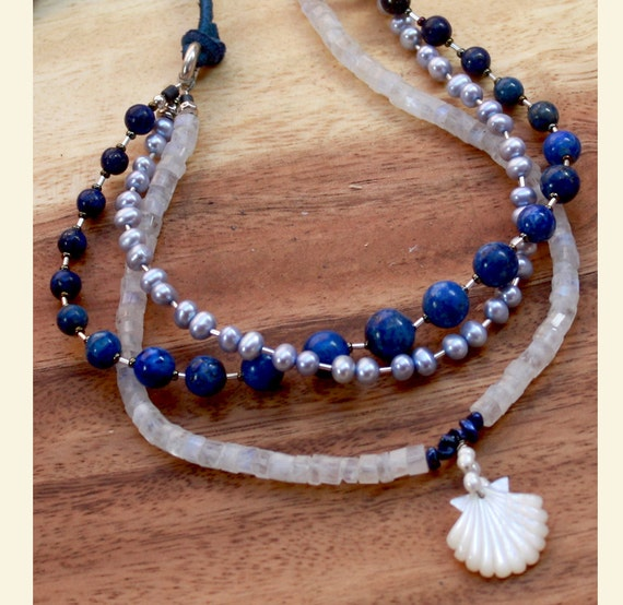 BY THE SEA Lapis Lazuli - Moonstone - Water Pearls Silver Necklace. Sale. Hand Carved Mother of Pearl Shell  Pendant.