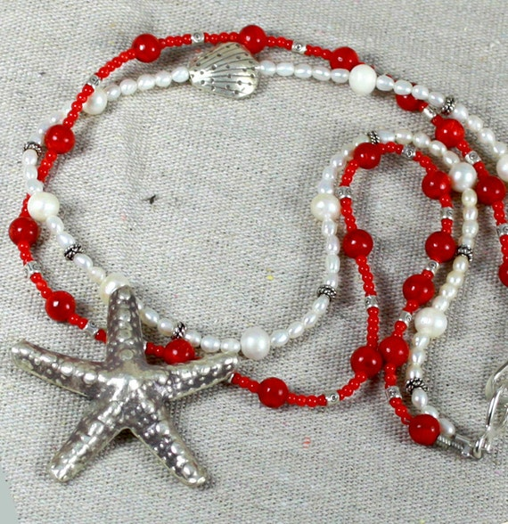 SEA STAR Sterling Silver Necklace. SALE. Red Coral - White Pearl Necklace. Large Fine Silver Pendant.  Fresh Water Pearl Necklace.