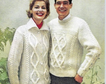 Woman's Cardigan and Man's Pullover Knitting Patterns 726061